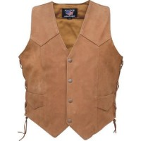 Herren Brown Basic Side geschnürte Weste aus Buffalo-Leder